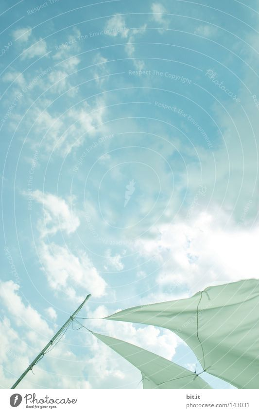 adherence Sun Sun sail Clouds Sailing Cloth Rag Roof Sailing trip Sun roof Point Rod Tent Blue White Gale Wind Fabric bag Background picture Weather Horizon