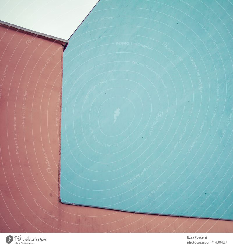 City Blue Colour Red House (Residential Structure) Wall (building) Architecture Building Wall (barrier) Stone Line Facade Design Esthetic Illustration