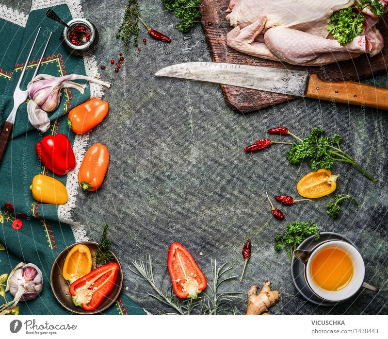 Whole chicken with oil and vegetables Ingredients for cooking Food Meat Vegetable Herbs and spices Cooking oil Nutrition Lunch Dinner Banquet Plate Bowl Knives