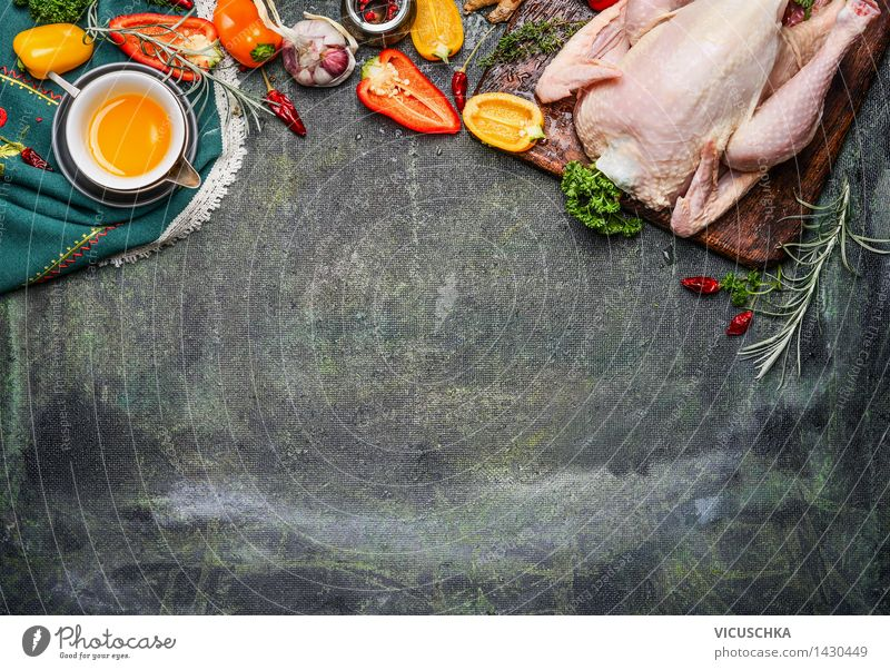 Whole chicken with oil and vegetables Ingredients for tasty cuisine Food Meat Vegetable Herbs and spices Cooking oil Nutrition Lunch Dinner Buffet Brunch