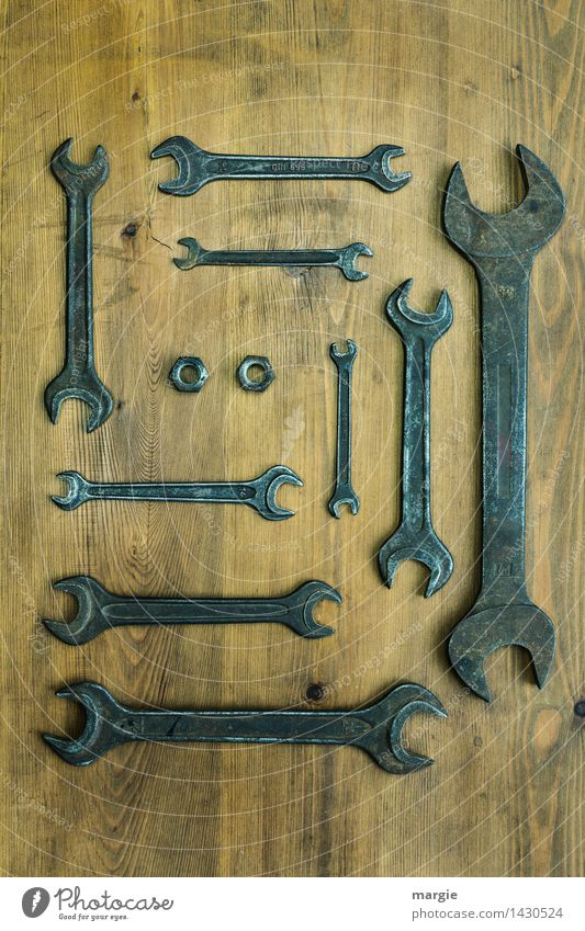 A collection of wrenches in different sizes plus two nuts Home improvement Work and employment Profession Craftsperson Workplace Services Craft (trade) SME Tool