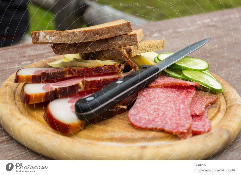 BREAD TIME I Food Meat Sausage Vegetable Bread Lunch Brunch Knives Delicious Salami Slices of cucumber Cucumber Bacon Cheese Cheese sandwich Appetite Hiking