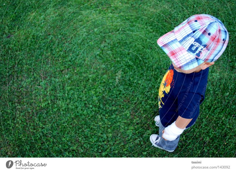 Child Green Relaxation Meadow Boy (child) Small Footwear Cool (slang) Lawn Toddler Cap Flexible Bandage Baseball cap
