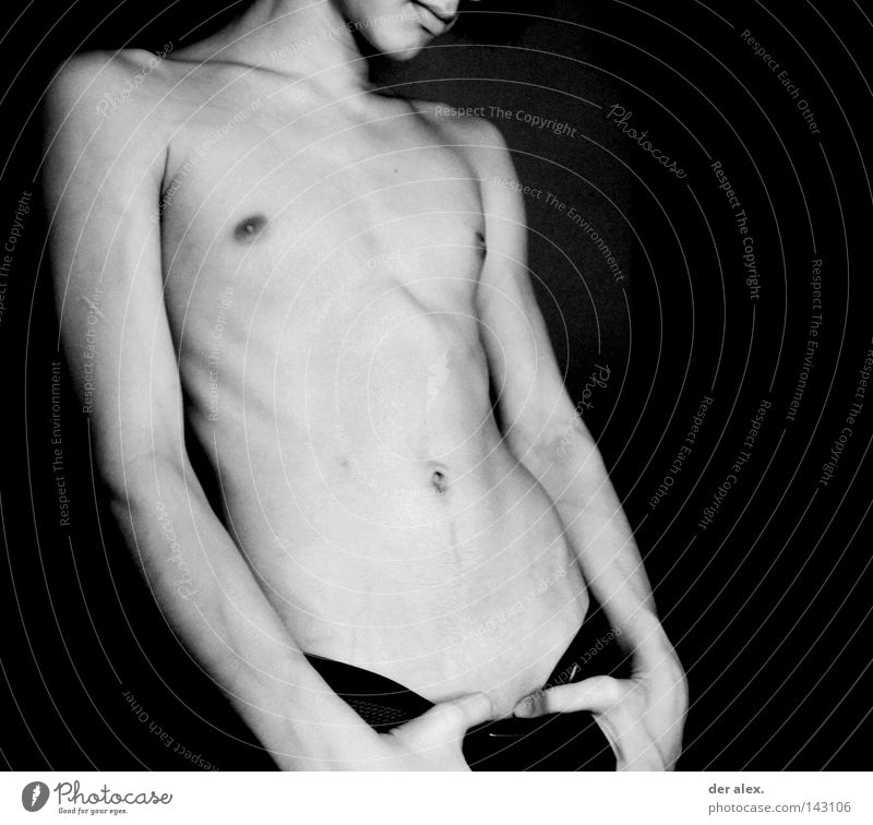 lèvres Body Naked Thin Black & white photo Eroticism Lips Nude photography Skin boy Male nude