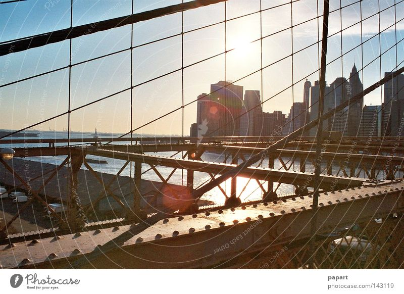 sunset on steel part 2 New York City USA Americas American Brooklyn Brooklyn Bridge Steel Steel carrier Robust Metal Metalware Street Vantage point