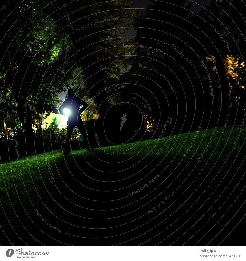 Human being Man Tree Green Leaf Meadow Garden Park Lawn Creepy Street lighting Neon light Branchage Criminal Monster Gardener