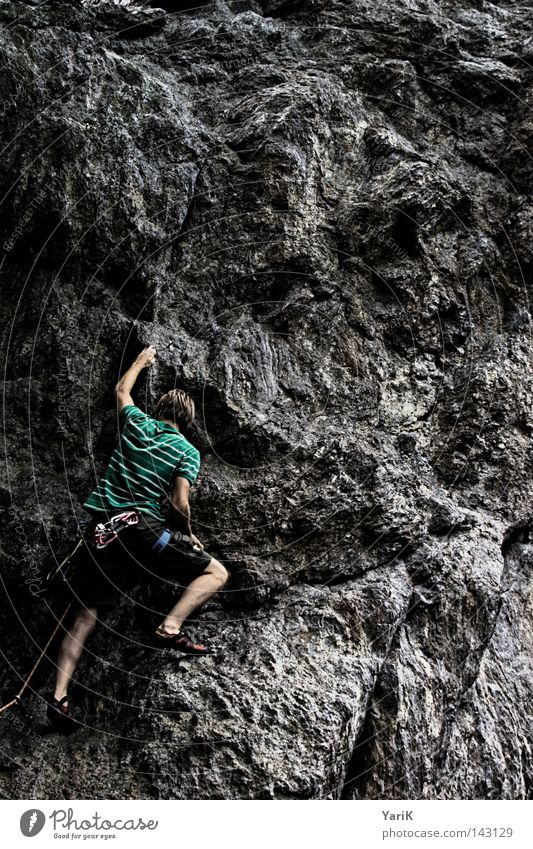 hang on II Mountaineering Rock Man Stone Stony Free-climbing Downward Under Abseil Rope Climbing rope Belt Collateralization Rescue Roof Clouds Tree Sunbeam