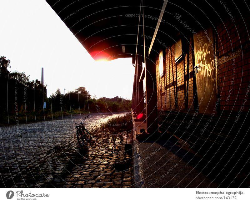 Lonely Rider Train station Loneliness Sun Calm Summer Deserted Twilight Derelict