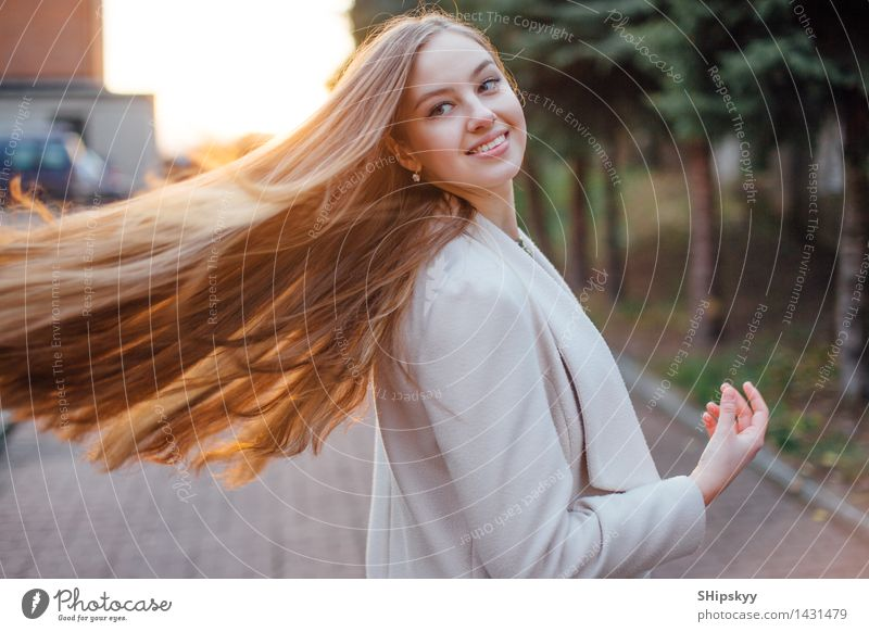 Girl with very long hair standing on the sunset background Body Human being Young woman Youth (Young adults) Female senior Woman Sister Head Hair and hairstyles