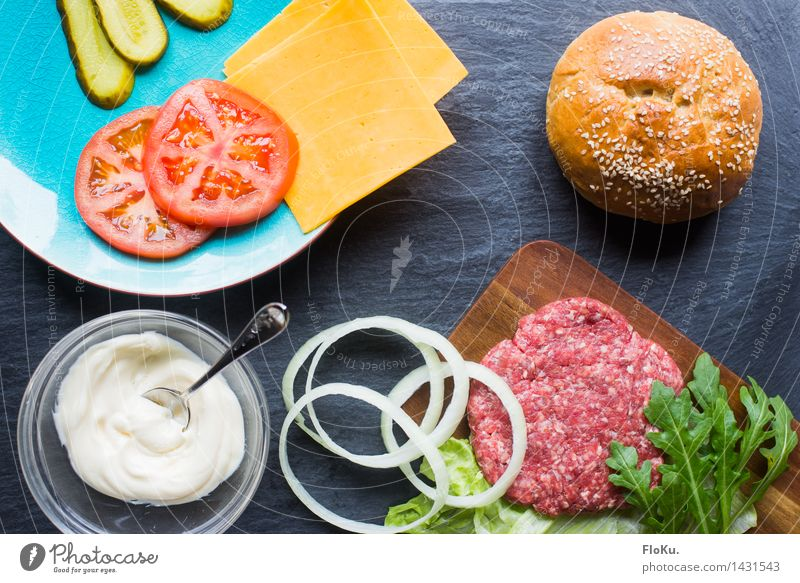 Burger construction kit Food Meat Cheese Vegetable Lettuce Salad Roll Nutrition Lunch Fast food Cook Kitchen Fresh Delicious Hamburger Minced meat Onion Tomato