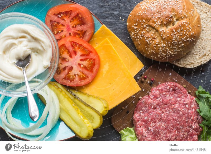 It's Burger Time Food Meat Cheese Dairy Products Vegetable Lettuce Salad Dough Baked goods Roll Nutrition Fast food Fresh Delicious Hamburger Pepper Tomato
