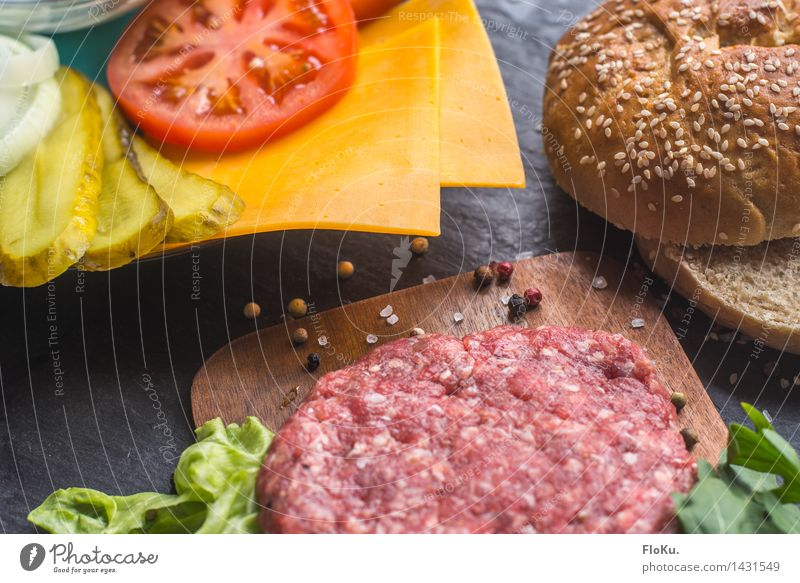 burger time Food Meat Cheese Vegetable Lettuce Salad Dough Baked goods Roll Herbs and spices Nutrition Lunch Fast food Cook Kitchen Fresh Delicious Yellow Red
