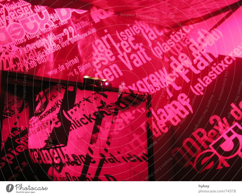 Moody Room Leisure and hobbies Decoration Typography Slide Magenta Projection Spatial impression Silk factory