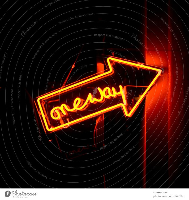 Dark Lanes & trails Orange Signs and labeling Beginning Sign Arrow Signage Word Neon light Way out Neon sign Illuminating Bookmark Hint
