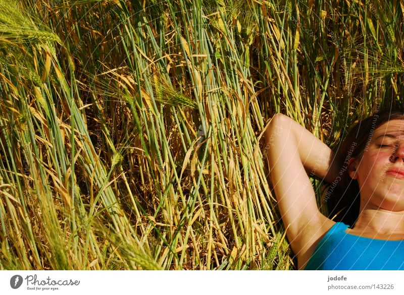 Enjoy! Woman Field Blade of grass Cornfield Ear of corn Barley Outstretched Portrait photograph Upper body Hope Desire Relaxation Sunbeam Armpit Turquoise Green