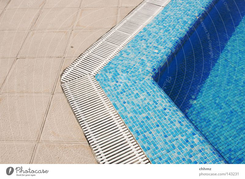 pool Playing Summer Swimming pool Water Wet Blue Azure blue Tile Corner Edge Transition Gutter Colour photo Exterior shot Day Pool border Drainage Deserted