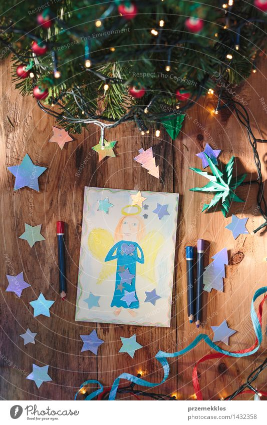 Hand drawn Christmas card and decorations Christmas & Advent Tree Wood Decoration Vantage point Table Creativity Paper Illustration Card Angel Top Pencil