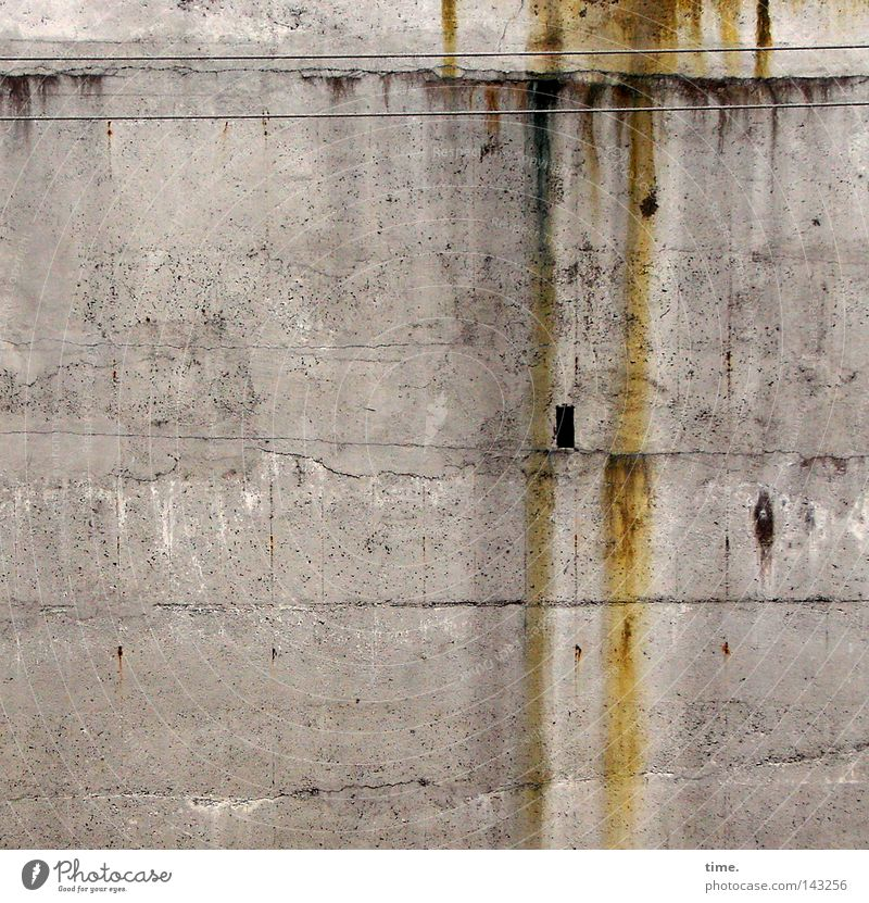 Innsbruck Anywhere Cable Concrete Rust Broken Gloomy Brown Gray Wall (building) Hollow Transmission lines Provision Electricity Niche Colour photo