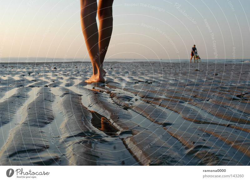 foot by foot Italy Vacation & Travel Sand Beach Ocean Water Sky Sunrise Feet Legs Human being Woman Baby carriage Furrow Water line Stand Calm To go for a walk