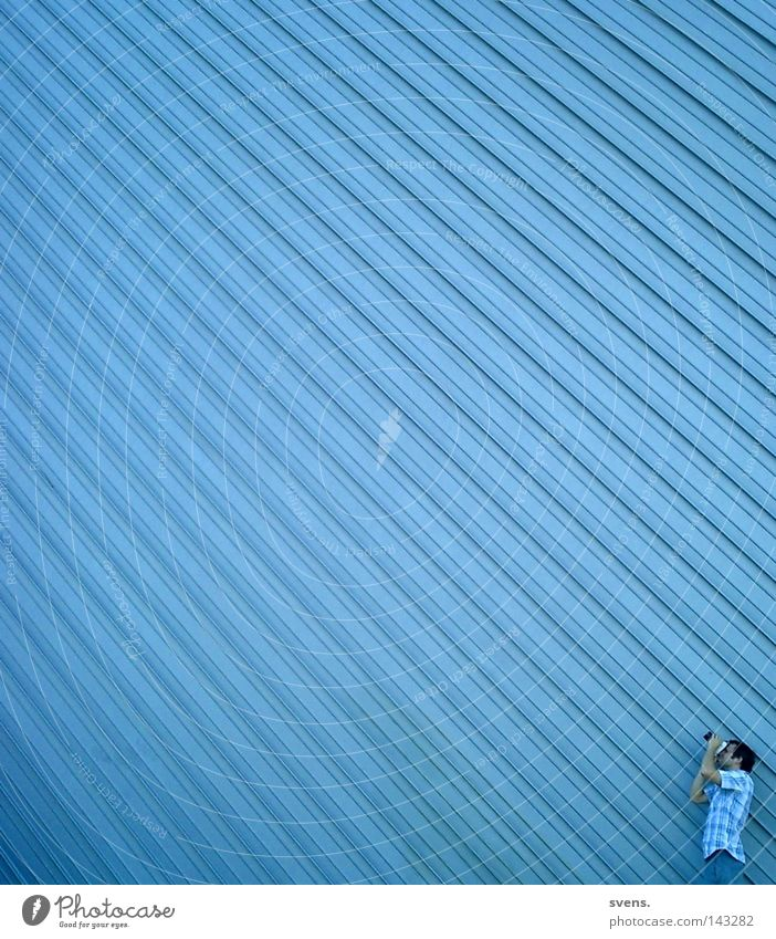 photographer's perspective Photographer Perspective Industry Linearity Blue Observe Factory hall sheet metal Strip Perspective Architecture