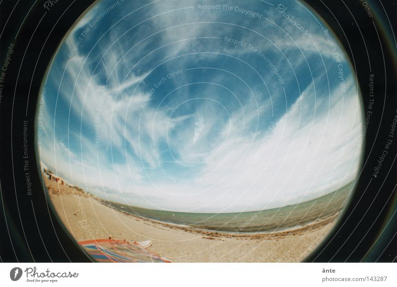 Make blue Lomography Fisheye Round Ocean Vacation & Travel Cirrus Sandy beach Beach Physics Infinity Coast Fisheye 2 Distorted Sky cirrostratus clouds
