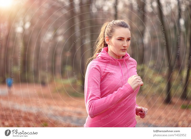 Pretty fit young woman jogging in woodland Human being Woman Nature Youth (Young adults) 18 - 30 years Forest Face Adults Autumn Sports Lifestyle Fresh Body