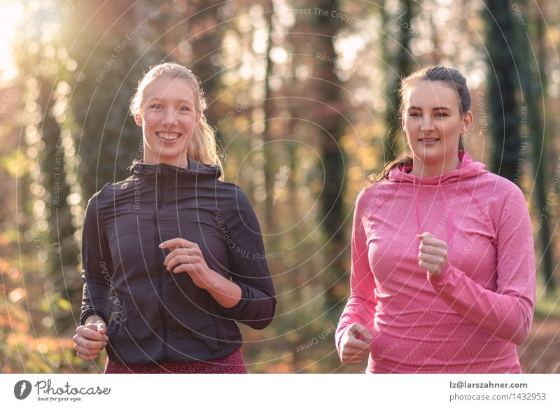 Two attractive fit young ladies out jogging Human being Woman Youth (Young adults) 18 - 30 years Forest Face Adults Autumn To talk Sports Happy Lifestyle Friendship Smiling Fitness Conceptual design