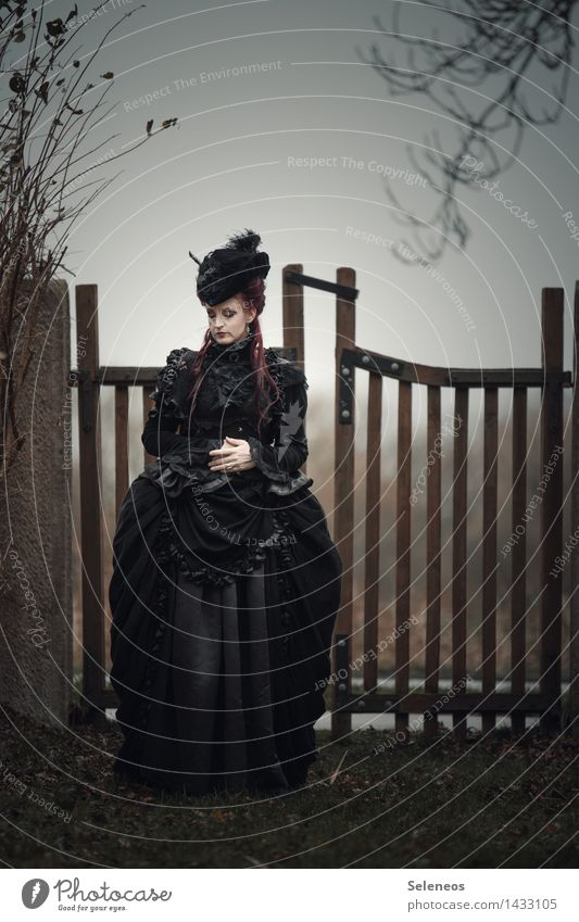 Human being Woman Tree Loneliness Winter Black Adults Sadness Autumn Feminine Death Fashion Clothing Grief Dress Pain