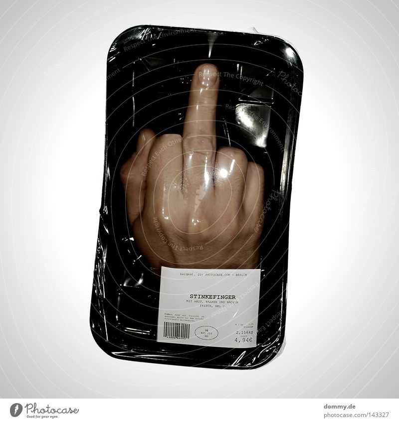 ah, fuck you! Fingers Hand Joint Nail Baseball cap Thumb Forefinger Ring finger Small Middle finger Right Packaged Sterile Packing film Black Fresh Food