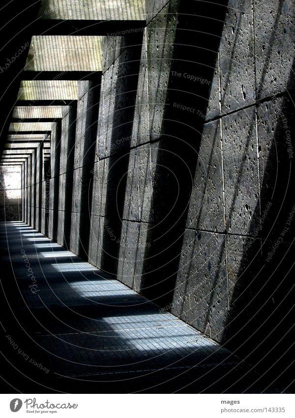 passage Light Shadow Grating Grid Underpass Tunnel Lanes & trails Passage Stone Concrete Underground Modern