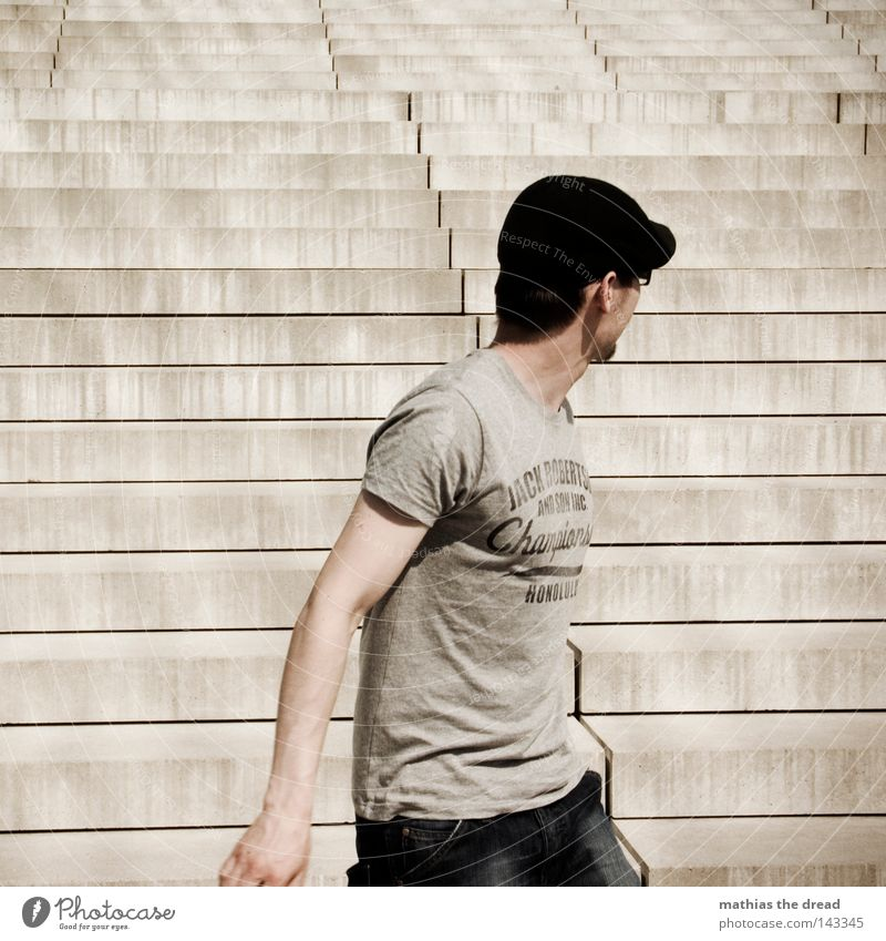 Human being Man Summer Loneliness Time Line Together Masculine Stairs Fear Stand Arm Tall Speed Future Concrete