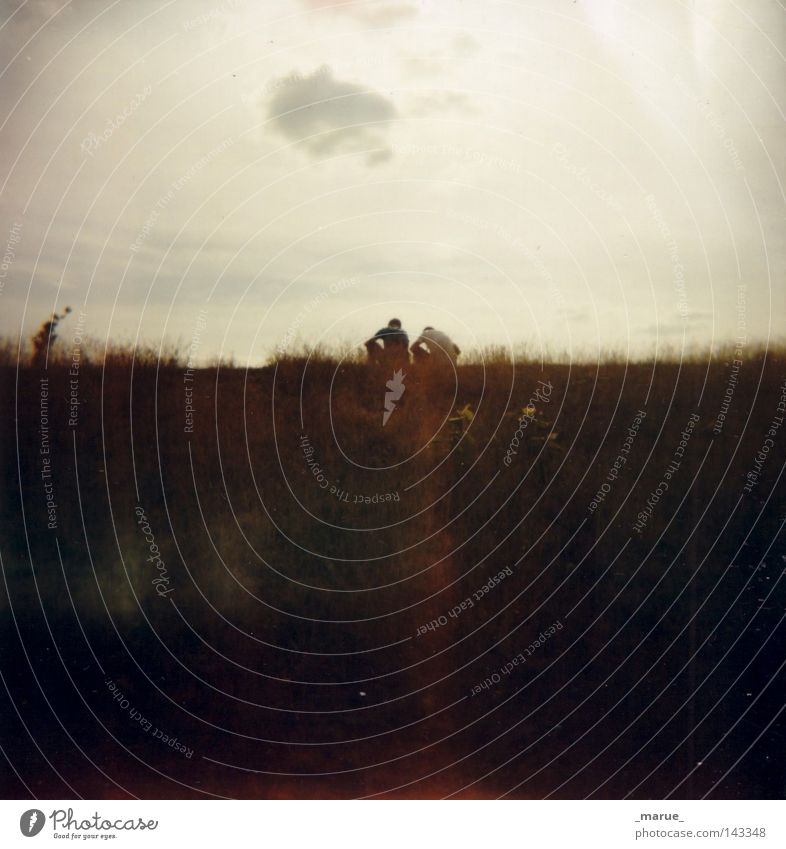 togetherness Field Slope Mountain Meadow Human being Friendship Couple Sun Sunset Sunrise Sky Clouds Bright Light (Natural Phenomenon) Together Sit Crouch