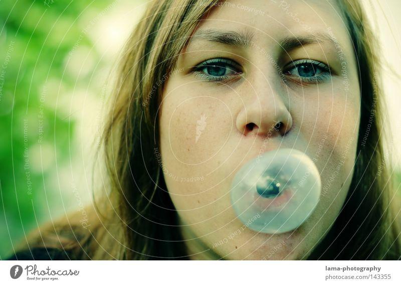 Woman Youth (Young adults) Blue Joy Face Eyes Cool (slang) Bubble Blow Soap bubble Air bubble Portrait photograph Flexible Ease Candy