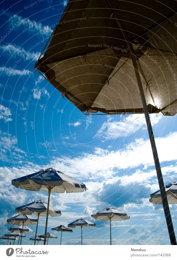 Sky Ocean Blue Summer Beach Vacation & Travel Coast Perspective Travel photography Exceptional Sunshade Umbrellas & Shades Foreign Extraterrestrial Unfamiliar