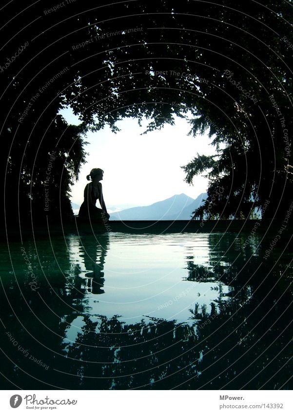 Lake Maggiore Beautiful Swimming & Bathing Summer Ocean Mountain Swimming pool Woman Adults Landscape Water Sky Forest Dream Black Lago Maggiore Mirror image