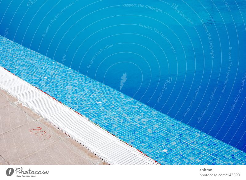 diagonal Summer Swimming pool Water Wet Blue Azure blue Tile Corner Edge Transition Gutter Colour photo Exterior shot Copy Space top Day Pool border Deserted