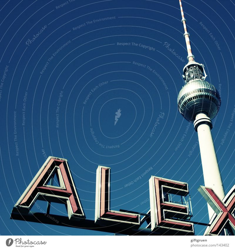 Sky Blue Berlin Art Tourism Characters Television Tower Letters (alphabet) Monument Typography Radio (broadcasting) Landmark Beautiful weather Tourist