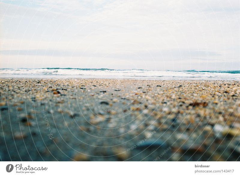 sea or sky or both or neither. Ocean Sky Pebble Sand Low tide Film industry 35mm Olympus Om-2s