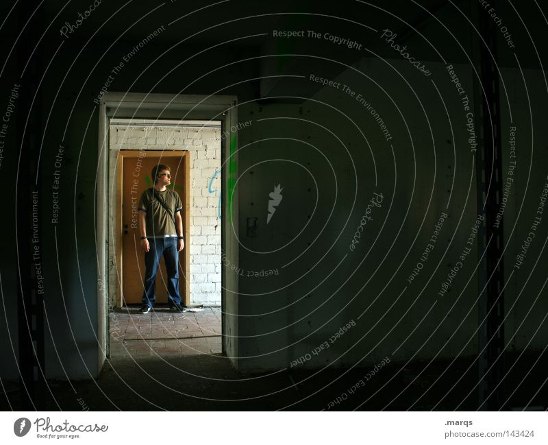 standing around Door Man Light Human being Stand Wait Dark Expectation Old Room Frame Black Derelict Loneliness more secure stand ...