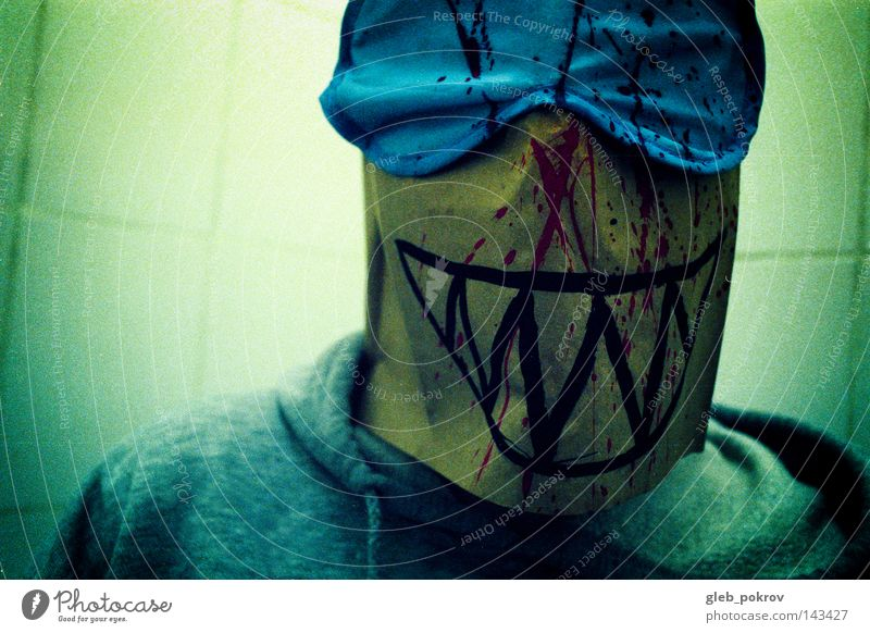Joker. Man Hooded (clothing) Head Light Light (Natural Phenomenon) Portrait photograph Filming Art Russia Mask Clothing Siberia Fear Panic Human being