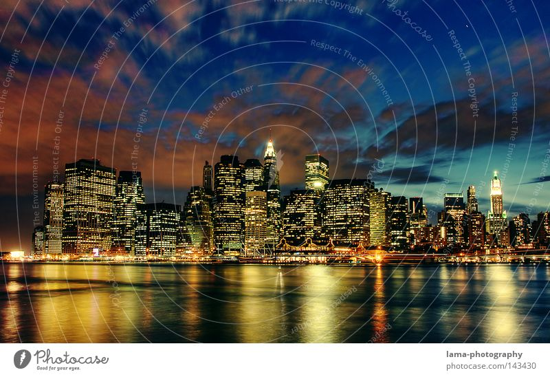 Water Sky City Brooklyn House (Residential Structure) Clouds Night North America Lighting Waves Background picture Large High-rise USA River Romance