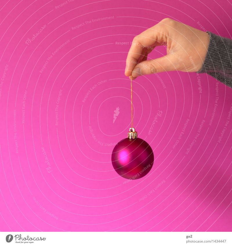 Christmas bauble Christmas & Advent Human being Adults Hand Fingers 1 Sphere Glitter Ball To hold on Esthetic Happiness Pink Joie de vivre (Vitality)