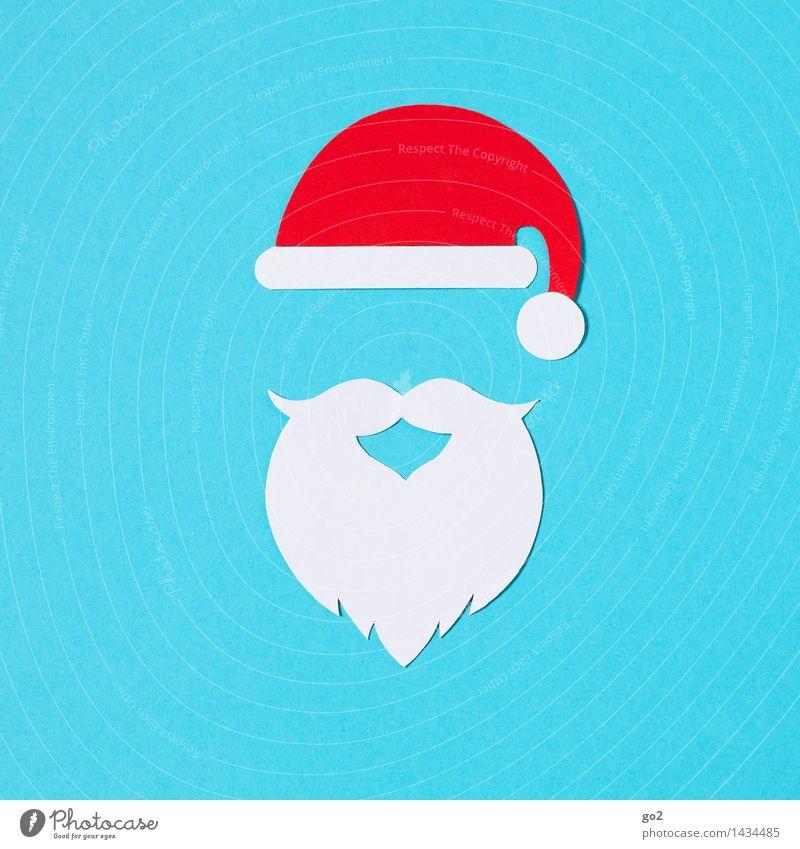 Blue Christmas & Advent White Red Esthetic Cap Facial hair Carnival Anticipation Handicraft Beard Santa Claus hat