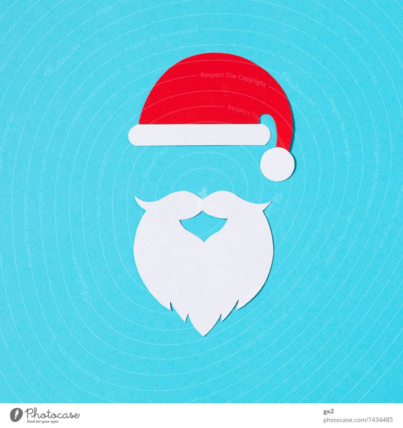 Santa Claus Handicraft Carnival Christmas & Advent Cap Santa Claus hat Facial hair Beard Esthetic Blue Red White Anticipation Colour photo Interior shot