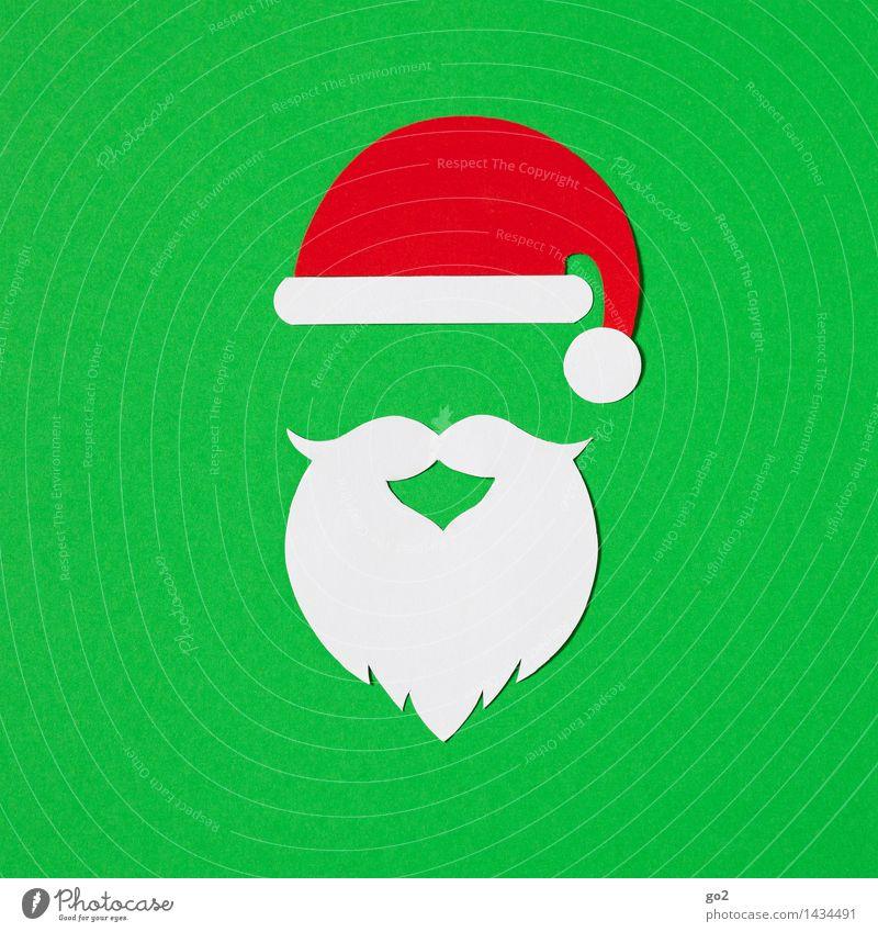 ho ho ho Handicraft Christmas & Advent Cap Santa Claus hat Facial hair Beard Paper Esthetic Green Red White Anticipation Colour photo Interior shot Studio shot