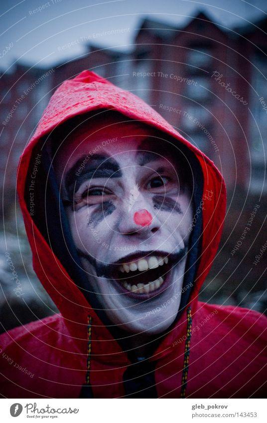 Crazy clown. Human being Man Red Joy Street Dark Head Air Rain Funny Nose Clothing Teeth Portrait photograph Trash Carnival