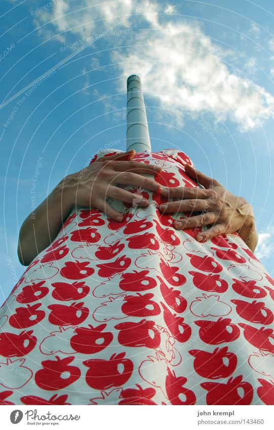 Woman Hand Sky Red Summer Joy Clouds Funny Arm Fruit Fingers Crazy Dress Apple Pipe Pregnant