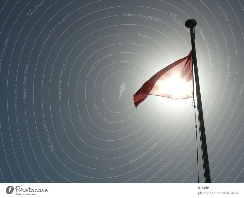 Sun Ocean Red Beach Vacation & Travel Waves Dangerous Flag Threat Respect Bans Warning label Risk Caution Flagpole Signal