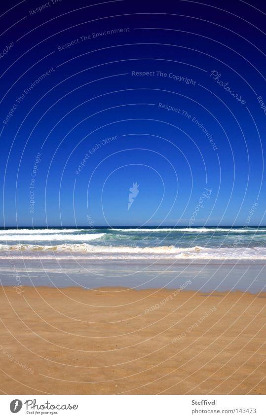 deep blue Summer Beach Blue Sky Waves Sand Contrast Portugal Far-off places Horizon Wanderlust Vacation & Travel Ocean baleal peniche surf beach