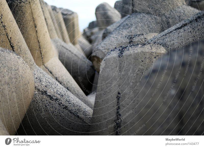 Ocean Beach Stone Concrete Geometry North Sea Sylt Fastening